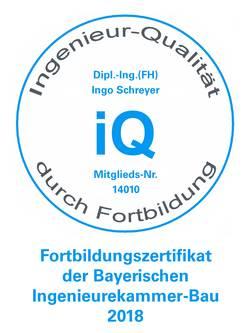Fortbidungszertifikat der Bayerischen Ingenieurekammer-Bau 2018